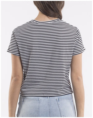 Silent Theory Twined Tee Black White Stripe (Twist Knot) Tops