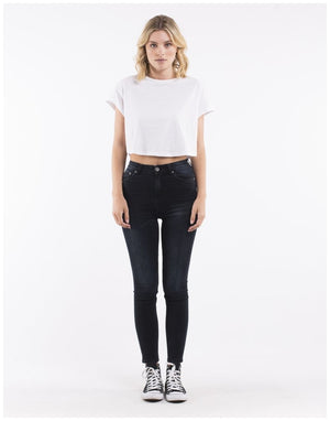 Silent Theory VICE HIGH RISE SKINNY JEAN PETROL DENIM