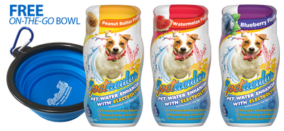 DOG VITAMIN WATER WITH ELECTROLYTES - 3 PACKS - GET FREE BOWL - FREE SHIPPING!