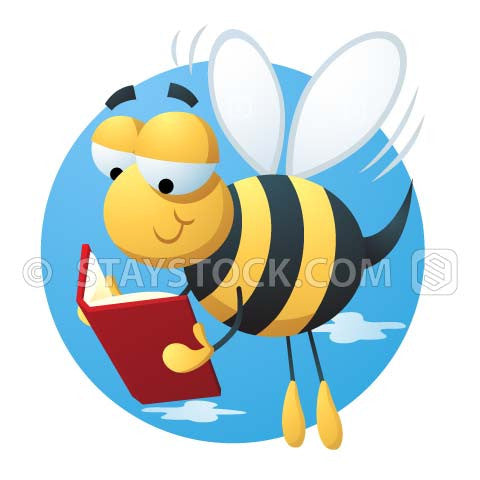 A cartoon bumble bee flying along while reading a book.