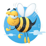 An illustration of a cute, cartoon flying bumble bee smiles and waves.