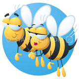 Two cartoon bees flying and holding hands on a romantic date.
