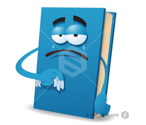 Staystock - 3D book character sad illustration.