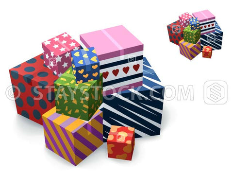 A collection of gift boxes with various colours and patterns.