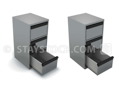 An open grey file cabinet with an empty draw and with and without a shadow.