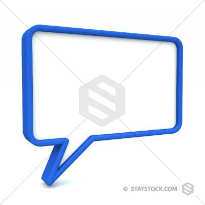 A blank 3D speech bubble at an angle.