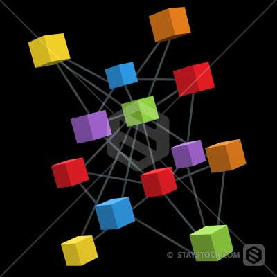 Square boxes make up the nodes of a 3D Network.