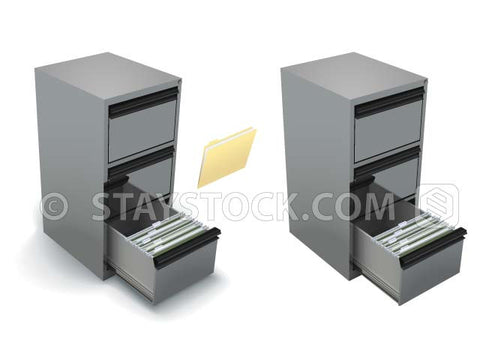An open grey file cabinet with a draw full of documents and folders and with and without a shadow.