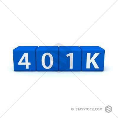 Staystock - 401K retirement fund on 3D blue text block cubes.