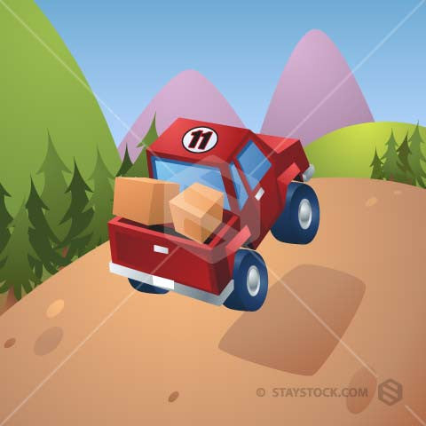 A cartoon 4WD in the process of climbing an off road hill.