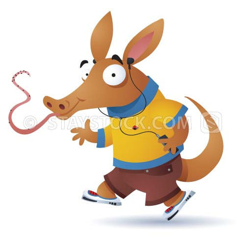 A cartoon aardvark exercises by jogging and listening to a personal audio device.
