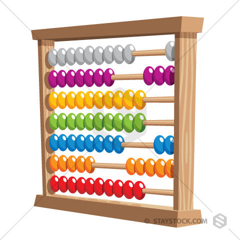 A cartoon Abacus with seven levels and multiple colours.
