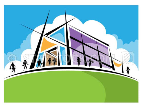 A stylised Academy building illustration with people coming and going.