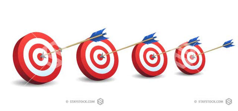 Four archery targets in a row with a bullseye arrow on each.