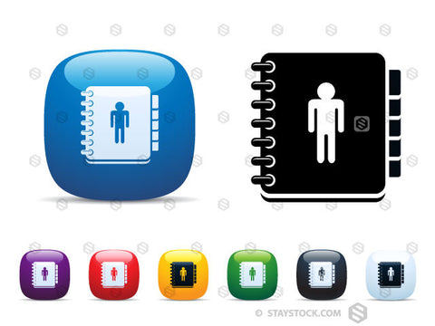 A set of shiny square icon buttons featuring an Address Book.