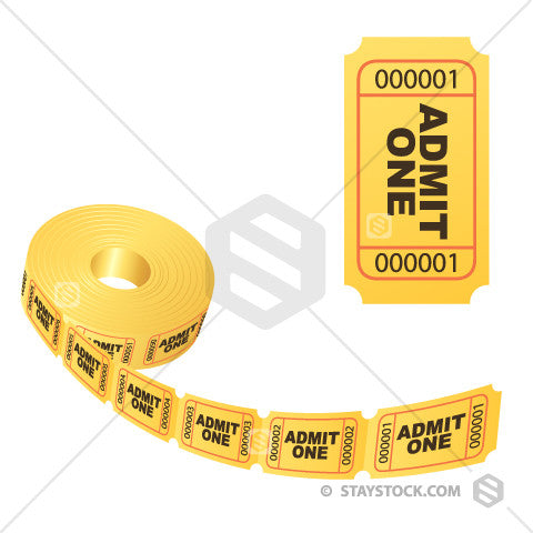 A reel of golden 'Admit One' tickets, as well as a single ticket front on.