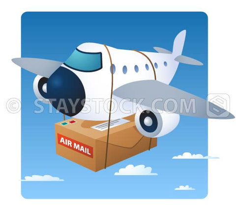 A cartoon aeroplane with a very large package underneath for airmail delivery.