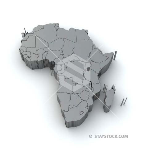 A grey 3D top view of the continent of Africa.