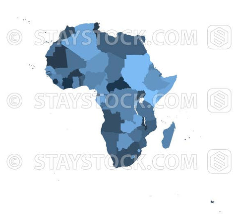 A vector Africa map with states in different shades of blue.