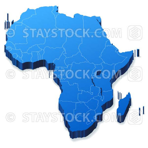 Blue vector Africa map with depth and states outlines.