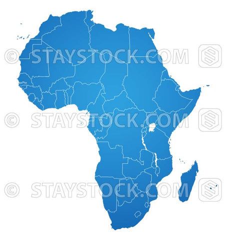 Blue vector flat 2D Africa map with state outlines.