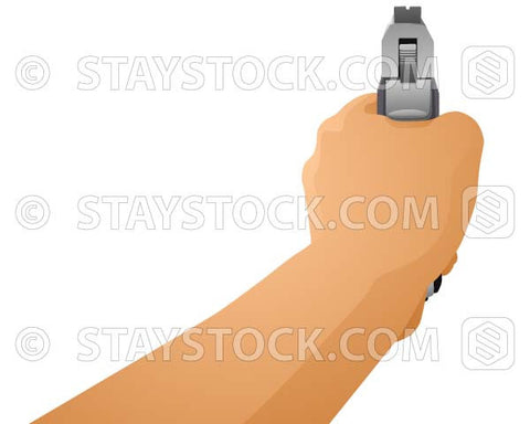 An illustration of a hand holding and aiming a Pistol.