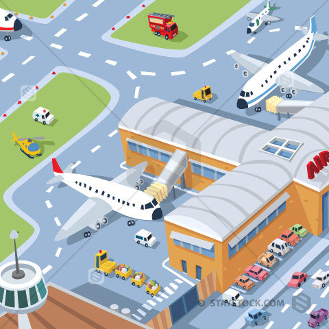 A busy airport filled with cars and plans.