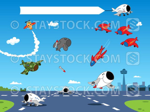 A detailed illustration of cartoon planes flying for an airshow event.