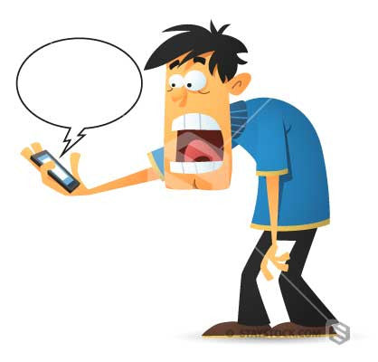 A cartoon of a man finding an alarming message on his mobile phone.