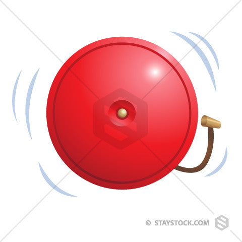 A ringing red fire alarm.