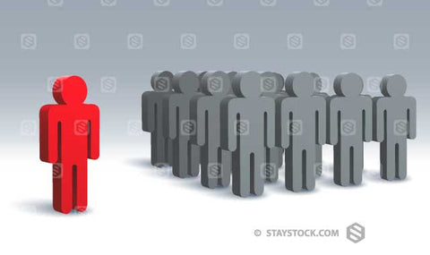 One 3D figure stands alone from a crowd of grey figures.