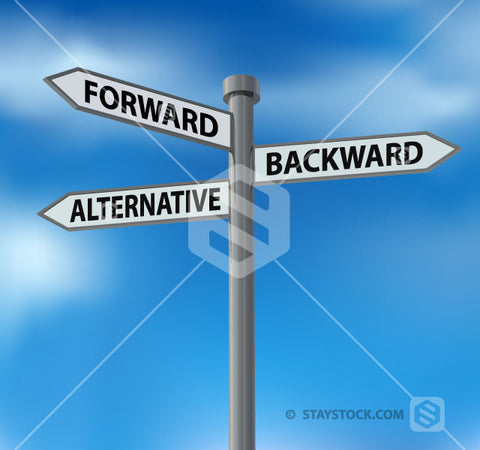 The words forward, alternative and backwards on a multi directional street sign.