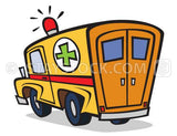 An ambulance cartoon from rear view.