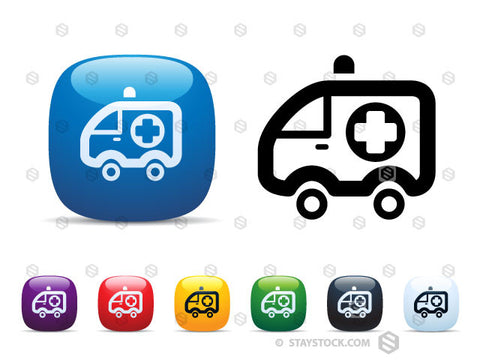 A set of shiny square icon buttons featuring an Ambulance.