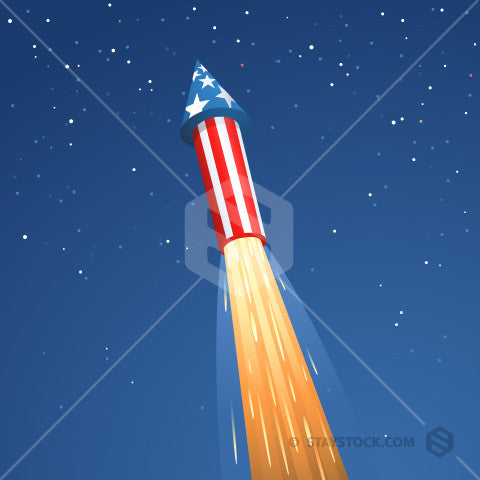A large American firework shooting up into the night sky.