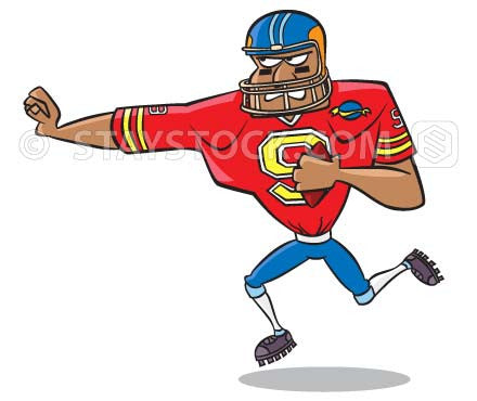 A cartoon of an American football player running with the ball.