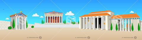 Ancient City background illustration depicts an ancient civilisation with courtyard, temple, market square, colonnades, wall and buildings. Detailed illustration.