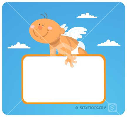A cartoon baby angel flying holding a blank sign.