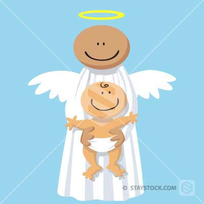 A cartoon angel holding a baby.