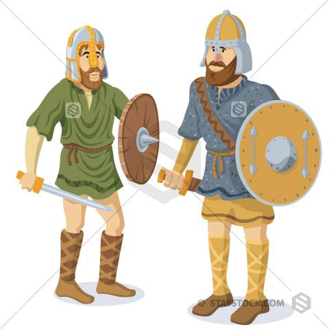 Two anglo saxon male warriors prepared for battle. Helmets, swords, shields, dagger all depicted in illustration.