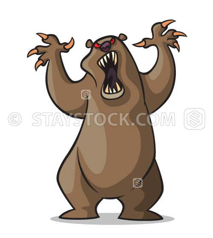 Angry bear is standing on hind legs with arms raised and claws out bearing teeth.
