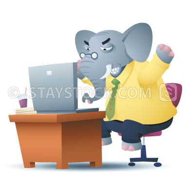 A cartoon of an angry elephant worker at computer and desk getting very frustrated.