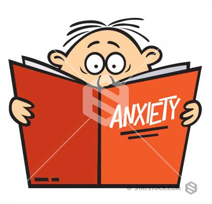 A cartoon man reading a book about anxiety.