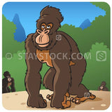 A cartoon ape in a jungle scene.