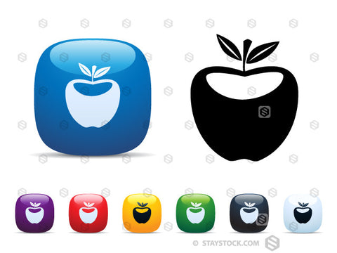A set of shiny square icon buttons featuring an apple.