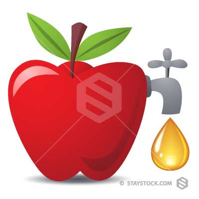 A Faucet in the side of an apple makes a fresh drop of apple juice.