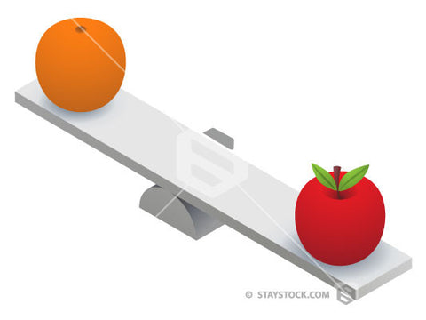 An Apple and Orange on two ends of a Seesaw.