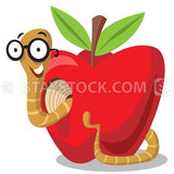 A cartoon worm makes his way through an apple.