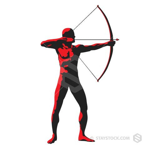 Archer holding bow and arrow.