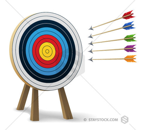 An archery target with arrows heading towards it.